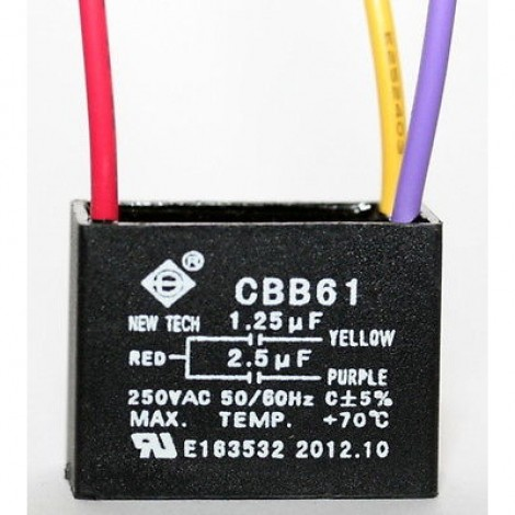 CEILING FAN CAPACITOR CBB61 1.25uf+2.5uf 3 Wire