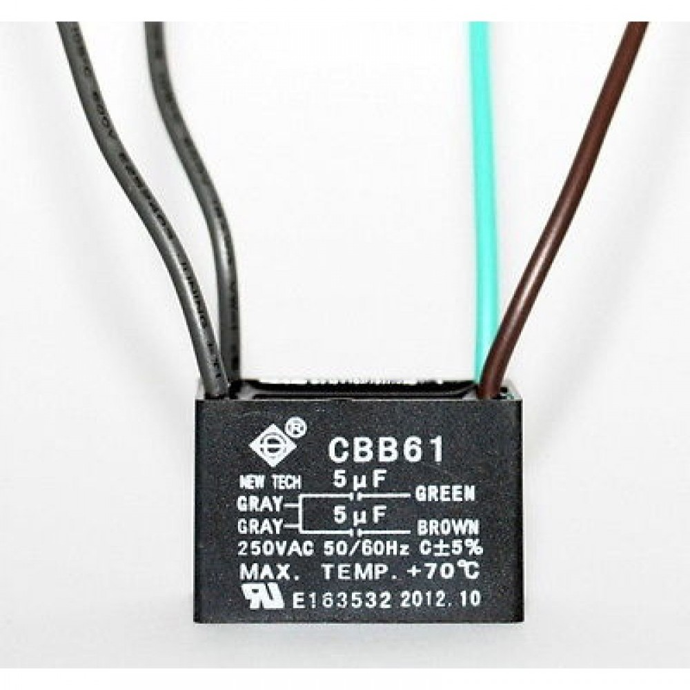 CEILING FAN CAPACITOR CBB61 5uf+5uf 4 WIRE (can be used as 3 wire also)